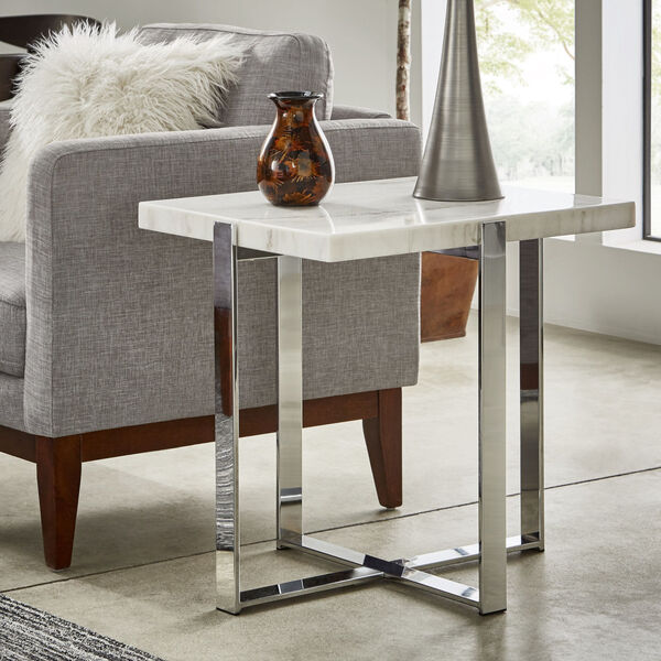 Diana Chrome Marble Top Framed End Table, image 5